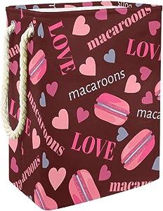 "Sweet Donuts Desserts Macaroons Hearts Love Pattern 19.3"" Large Sized Waterproof Foldable Laundry Hamper Bucket with Handles for Storage Bin,Kids Room,Home Organizer,Nursery Storage,Baby Hamper"