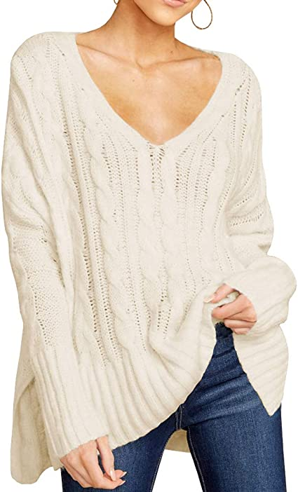 Women Knitted Sweater Long Sleeve V-Neck Pullover Casual Jumper Tops Plus Size