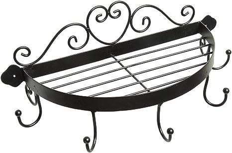 Regal halbrund mit Haken  weiss 39cm Wandregal Küche Hängeregal  Landhausstil