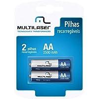Pilhas Recarregáveis AA 2500mAH com 2 Unidades, Multilaser, CB053, Multicor