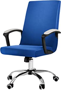 JIATER Stretchable Office Chair Cover Computer Chair Slipcovers Universal Boss Chair Seat Covers Modern High Back Chair Slip Cover for Leather Desk Chair (Royal Blue)