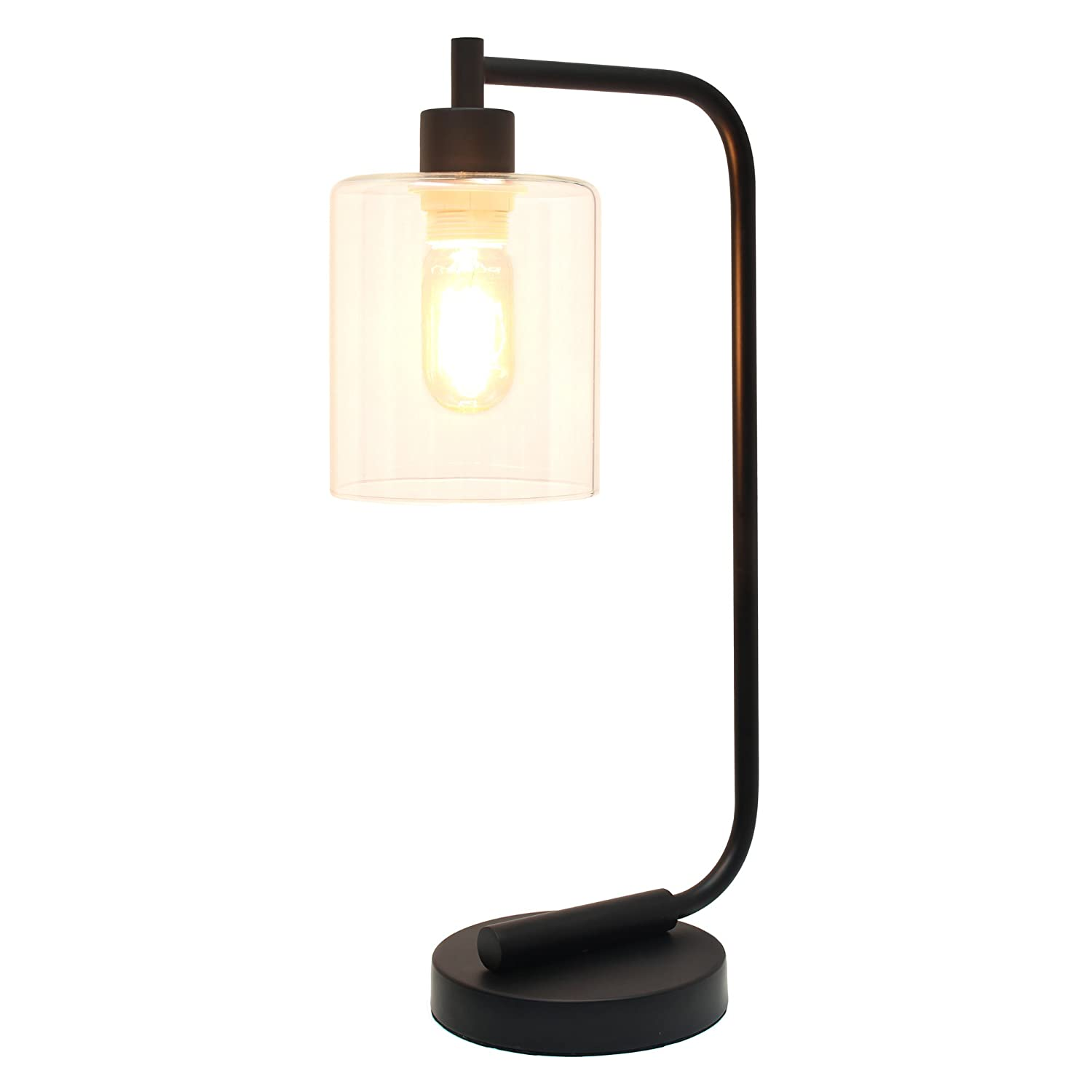 Simple designs home ld1036 blk bronson antique style industrial iron simple designs home ld1036 blk bronson antique style industrial iron lantern desk lamp with glass shade black amazon aloadofball Image collections