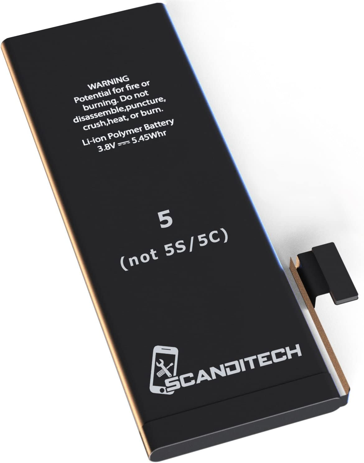 ScandiTech Battery Model iP5 - Compatible with iPhone 5 (not 5S or 5C) - with Adhesive & Instructions (no Tools) - New 1440 mAh 0 Cycle Replacement Battery - Repair Your Phone in 15 min - 1 Year Warr