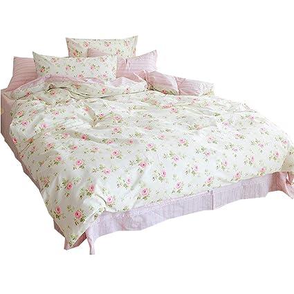 Amazon amwan pink floral flower printed bedding set cotton amwan pink floral flower printed bedding set cotton reversible kids girls duvet cover set queen 3 mightylinksfo