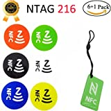 6 +1 pack NFC Tag Stickers,NFC Tags with 888 Bytes NTAG216, Compatible with all NFC-capable phones(NFC 216)