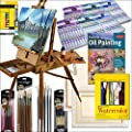 HARDWOOD FRENCH ARTIST EASEL WITH ART SET, SPECIAL EDITION COMPREHENSIVE, ALL MEDIUM, ARTIST QUALITY, PAINTING SUPPLIES SET: Includes: (108) Paint Tubes of Oil, Acrylic, and Watercolor, (6) Stretched Canvases, (4) Art Quality 'Connoisseur' Brush Sets, Wat