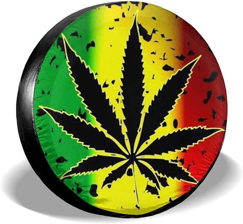 Drew Tours Marihuana Hierba Cannabis Maceta Hoja Planta Impermeable Rueda de poliéster Cubierta del neumático de Repuesto Viaje para SUV Camión RV Resistente a la Intemperie 15 Pulgadas