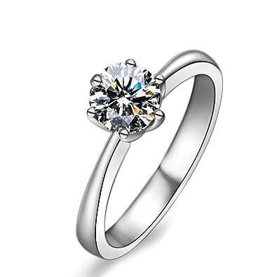 f18bc1866dfa Blisfille Anillos Hombre Diamantes Anillos Plata de Ley Mujer Anillo de  Zirconia Cúbica de Seis Garras