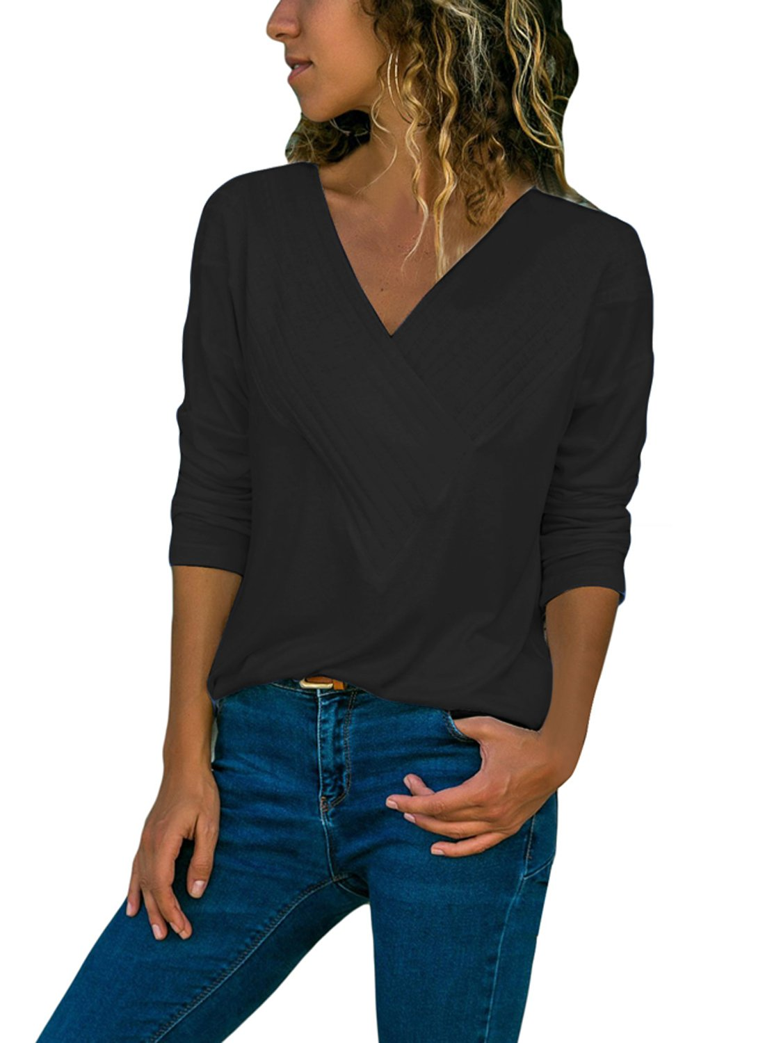 BLENCOT Women's Fall Long Sleeve Cross Wrap Front V Neck Loose Black Solid Basic T-Shirt Casual Blouses Tops Large