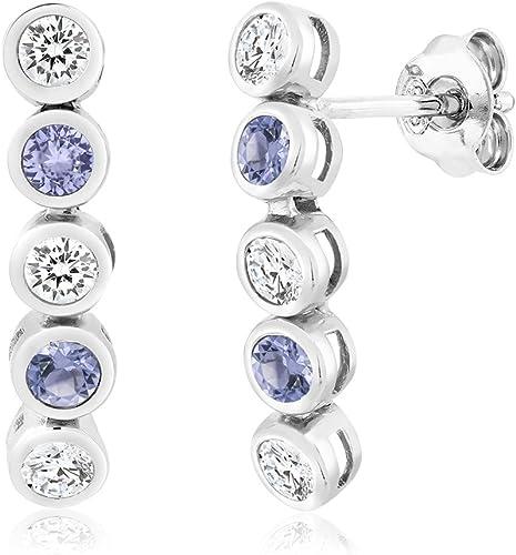 Escalador de plata esterlina 925 ronda oreja Vid con CZ Pendientes en Caja