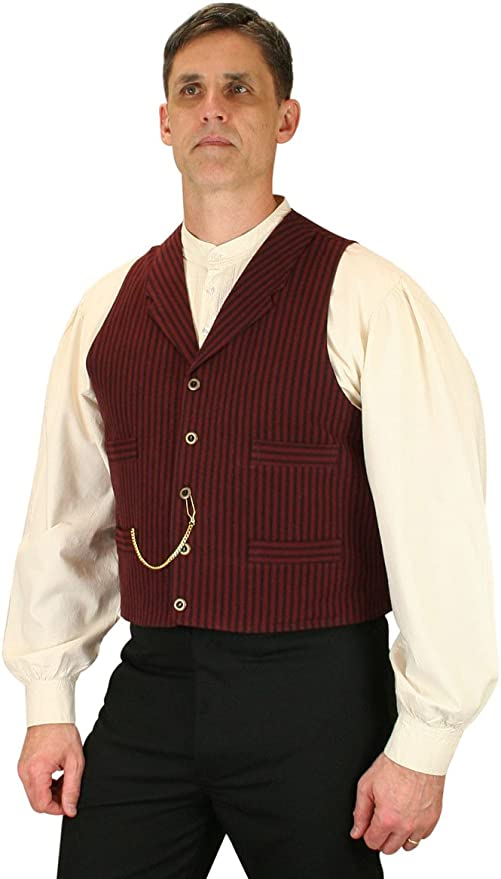 Men's Steampunk Vests, Waistcoats, Corsets Historical Emporium Mens Jennings Striped Cotton Dress Vest $66.95 AT vintagedancer.com