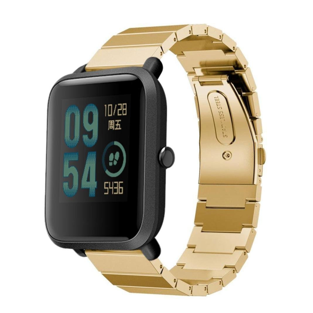AutumnFall Xiaomi Amazfit Bip Wristband, New Style Stainless Steel Bracelet Watch Band Strap For Xiaomi Amazfit Bip Youth Watch, Width 20mm/Length:180mm (Gold)