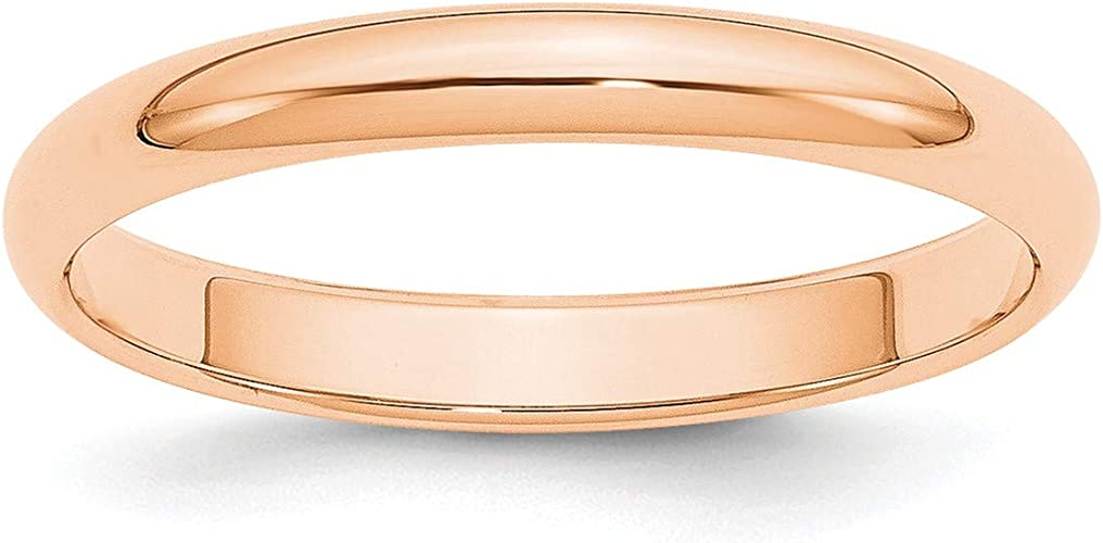 10K Rose Gold 1mm Half Round Band