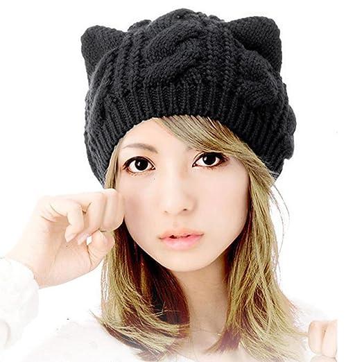 Shybuy Women s Cute Cat Ears Hemp Knitted Hat Winter Warm Fashion Beanie Cap  for Ladies Girls b4196de74f3a
