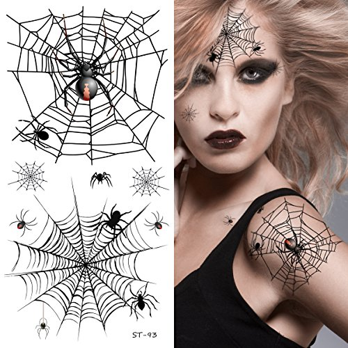 Supperb Temporary Tattoos - Horror Cobweb Spider Web II Halloween Tattoos ()