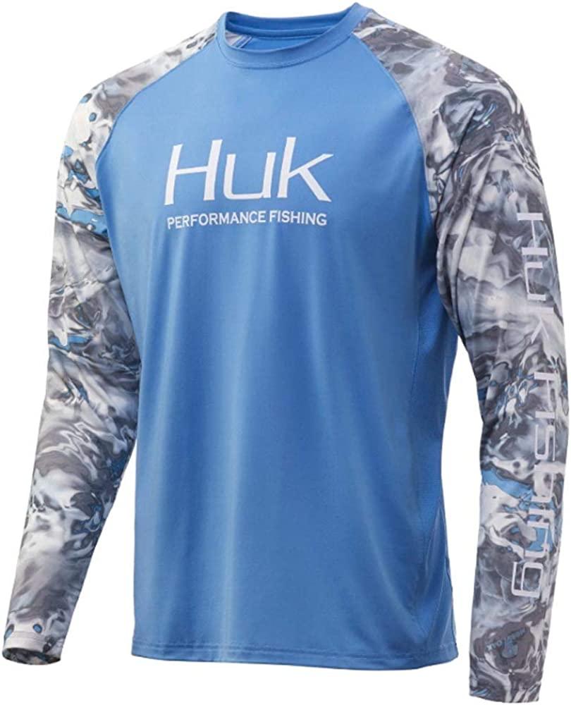 Huk Men's Mossy Oak Double Header Vented Long Sleeve Shirt | Camo Long Sleeve Performance Fishing Shirt With +30 UPF Sun Protection, Mossy Oak Hydro Standards, X-Large