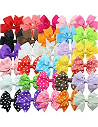 Baby Girls Grosgrain Ribbon Boutique Hair Bows Alligator Clips Polka Dots Hair Clips, Barrettes for Girls Kids Children Toddlers (15 Solid Color + 15 Polka dot Hair Bows)