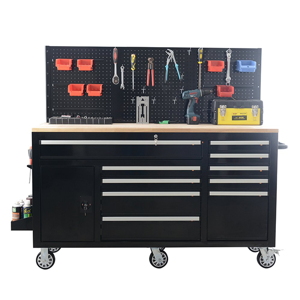 62Inch Professional Roller Tool Cabinets - 10 Drawers Cabinet with Power sockets, Pegboard on the back, adjustable shelf in the drawer SKU# XTB6210 Frontier