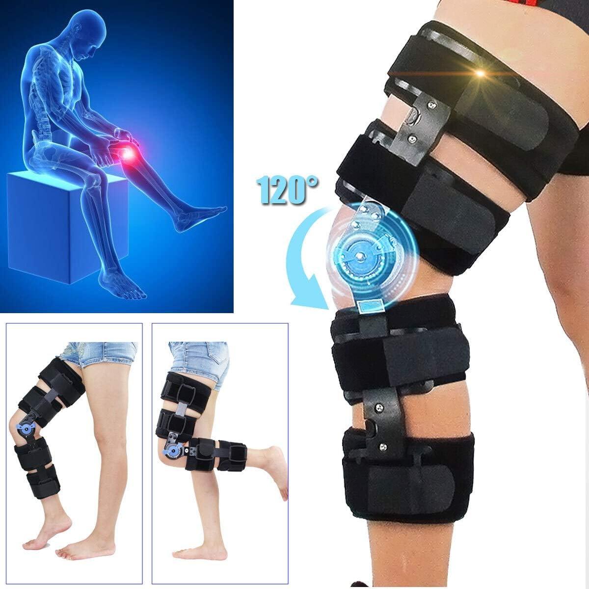 Rodilleras médicas Médico ortopédico rodillera ajustable 0-120 grados con bisagras de la rodilla de la pierna Apoyos y Soporte y rodilla de protección for recuperar Estabil