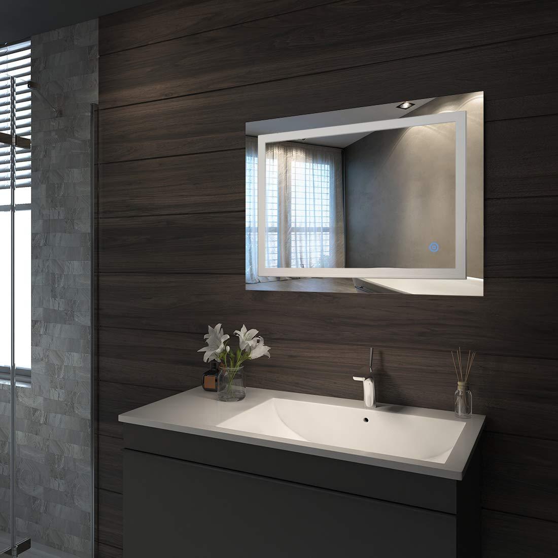 Blanc Froid Duschdeluxe Miroir de Salle de Bains avec /éclairage LED Miroir Murale Lumi/ère Illumination avec Interrupteur Tactile 50 x 70 x 4,5 cm Classe /énerg/étique A++