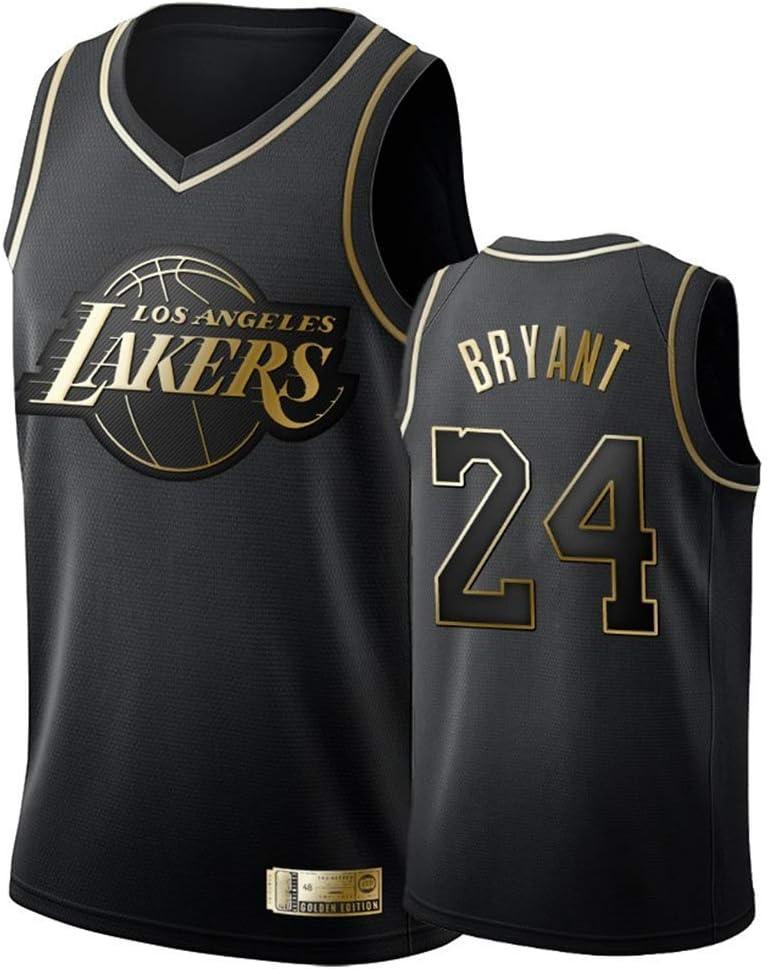 Camiseta de Baloncesto para Hombre, Los Angeles Lakers #24 Kobe Bryant. Bordado Swingman Transpirable y Resistente al Desgaste Camiseta para Fan