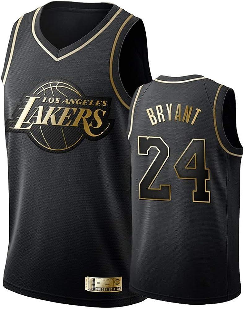 A-lee - Camiseta de baloncesto para hombre - Número 24 de Kobe Bryant - Camiseta de manga corta para baloncesto, unisex, sin mangas, con el nombre y el número del jugador bordados,