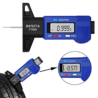 "BESITA Digital Tire Tread Depth Gauge - Digital Tire Gauge Meter Measurer LCD Display Tread Checker Tire Tester for Cars Trucks Vans SUV, Inch/Metric,0-1""/25.4 mm (with Battery): Automotive"
