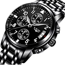 Mens Watches Classic Black Quartz Analog Steel Wrist Watch Chronograph Date Display with Roman Number Time Mark
