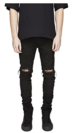 running shoes half price new lifestyle LONGBIDA Men's Ripped Slim Fit Skinny Destroyed Distressed Tapered Leg Jeans