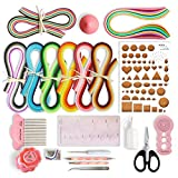 JUYA Paper Quilling Kits with 960 Strips and 13 Tools (Pink Tools, Paper Width 5mm)