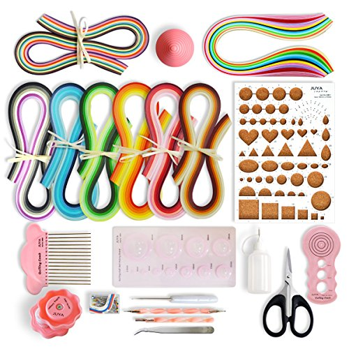 JUYA Paper Quilling Kits with 960 Strips and 13 Tools (Pink Tools, Paper Width 5mm) by JUYA