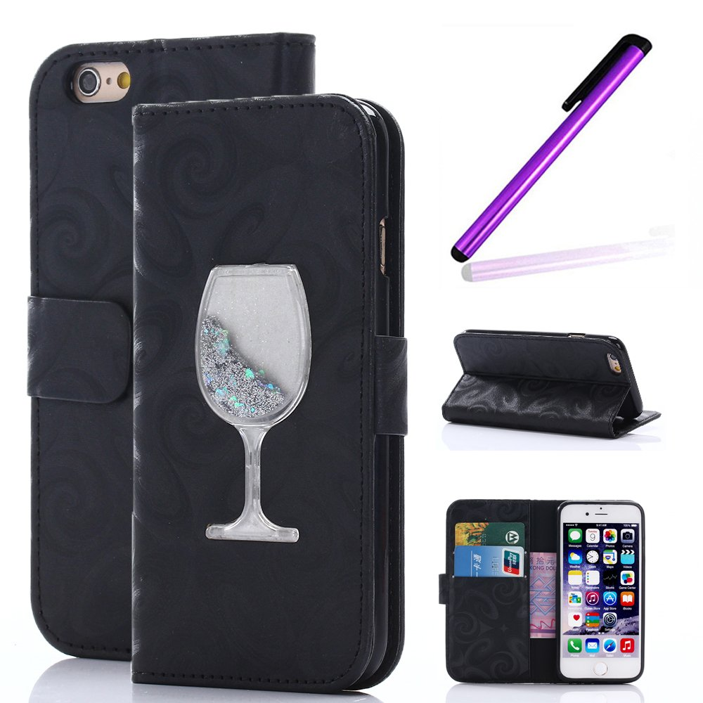 Magnetic Closure Wallet Case with Glitter Wine Glass for iPhone 6/6S Plus Black