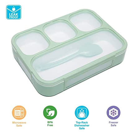 40096d49fe01 Multi Compartment Bento Lunch Box Case for Kids Teens Green Leak Proof  Lunchbox by CHOEES