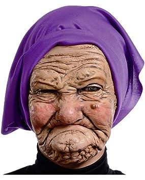 Horror-Shop Máscara De Abuela Grim con Pañuelo En La Cabeza ...