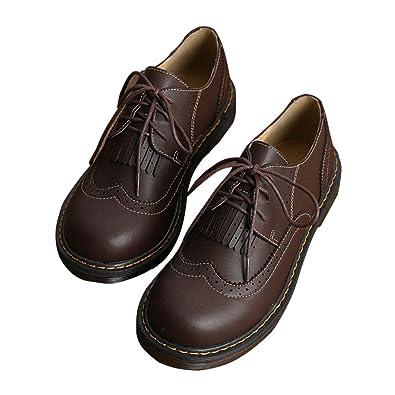 SXSHUN Mocasines Brogue para Niñas Zapatos de Cuero Sintético para Uniforme Colegio con Cordones Estilo Británico: Amazon.es: Zapatos y complementos