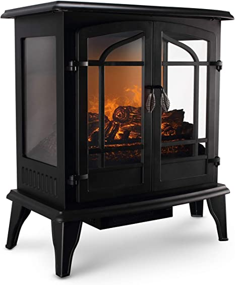 Della 3d Infrared Electric Vintage Fireplace Stove Black 25 Inch Portable Indoor Space Heater 1400w Burning Wood Screen Home Kitchen