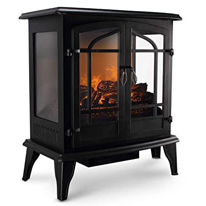 Vintage Electric Stove >> Della 1400w Vintage Electric Stove Heater Fireplace 25 Inch Freestanding 3d Flame Log Stove Firebox Black