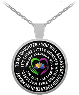 Amazon father daughter pendant personal gift charm necklace father and daughter necklace always beloved inspiration love dad mozeypictures Choice Image