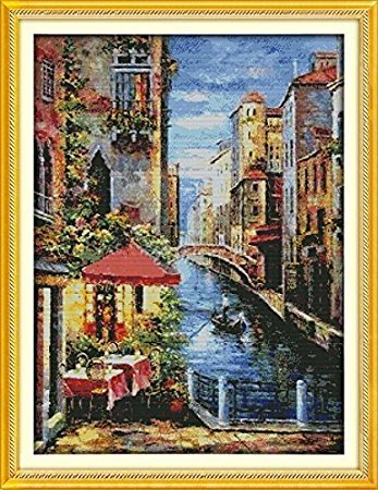 Counted Cross Stitch Kits Venetian Scene 14 Count 58cmx74cm DIY Needle Work for Home Decor (Scene Venetian)