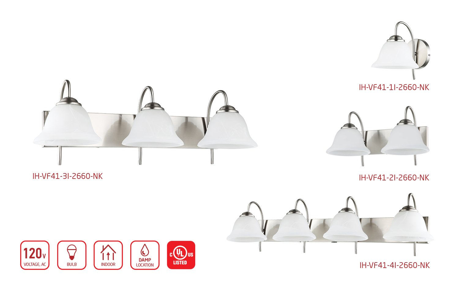 3-Light Bathroom VANITY and Kitchen Wall Sconce Fixture, Satin Nickel Finish with Alabaster Glass Bell Shades, E26 Medium Base For Three Bulbs, UL Listed by OSTWIN (Image #4)