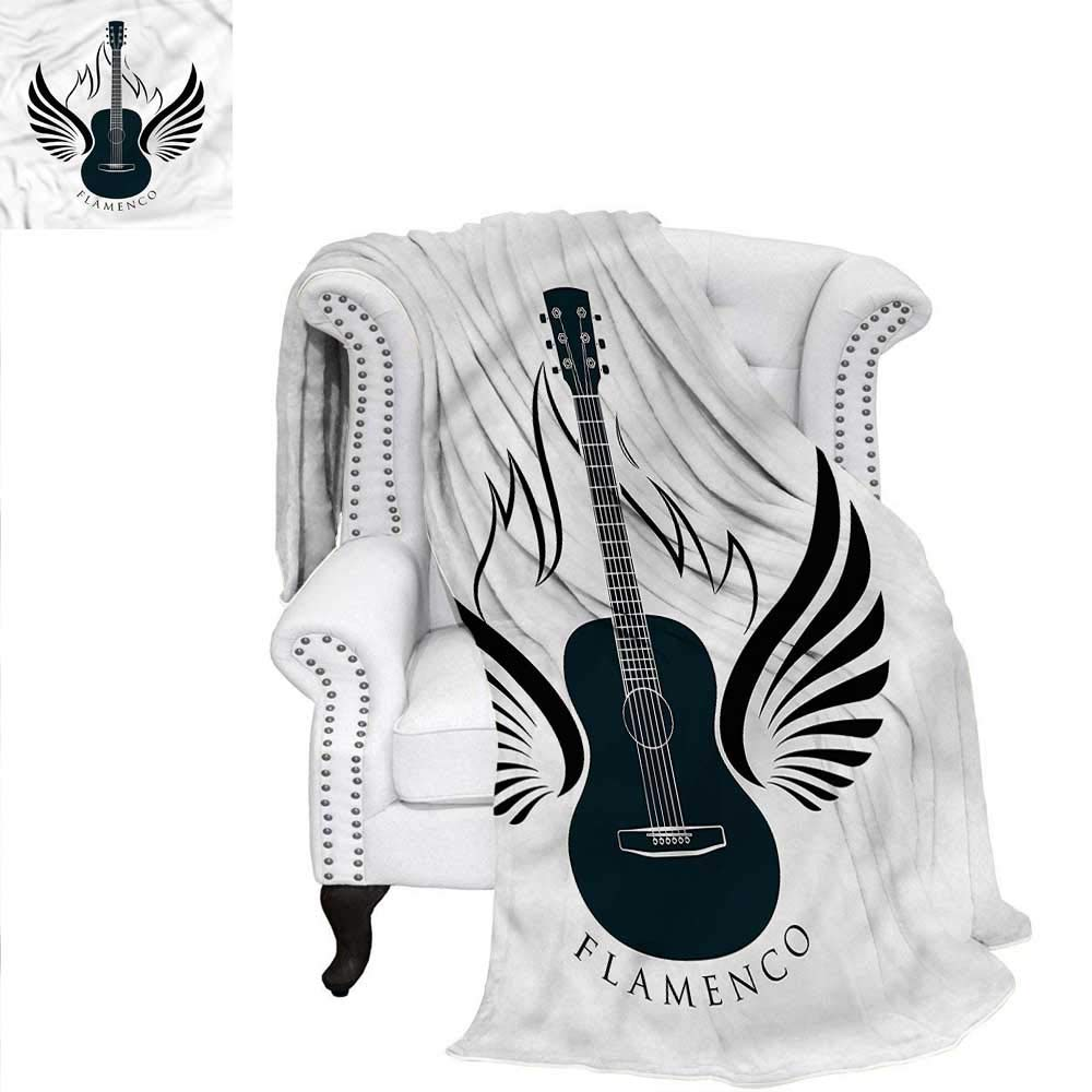 Flamenco Travel Throw Blanket Classic Guitar with Wings Blanket 90''x70'' by RenteriaDecor