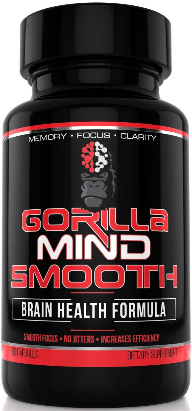 Gorilla Mind Smooth Nootropic Formula – Memory · Focus · Mental Clarity · No Jitters - DMAE, Alpha GPC, TeaCrine, Bacopa Monnieri, L-Theanine & More - 90 Capsules