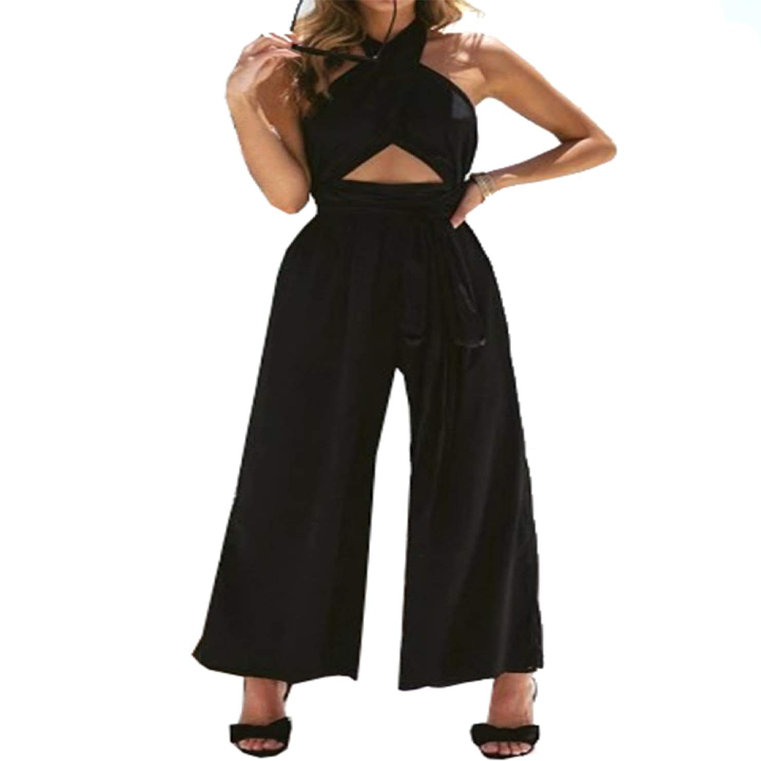 Absinthe First-Class New Cross-Necked Backless Wide Leg Jumpsuit Rompers
