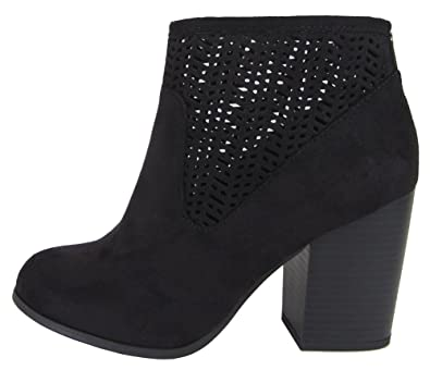 Women's Laser Cut Back Zip Stacked Chunky Block Heel Ankle Boot