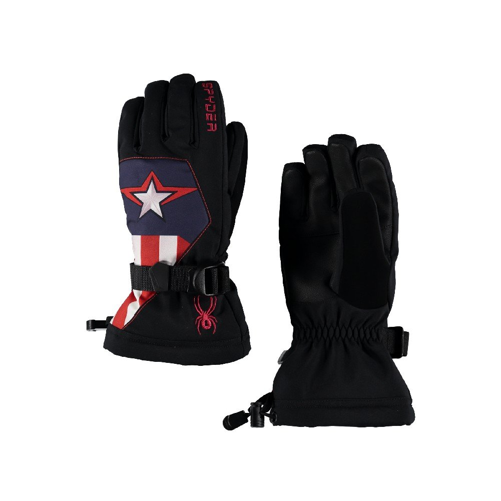 Spyder Active Sports Boy's Marvel Overweb Ski Glove, Black/Captain, X-Large