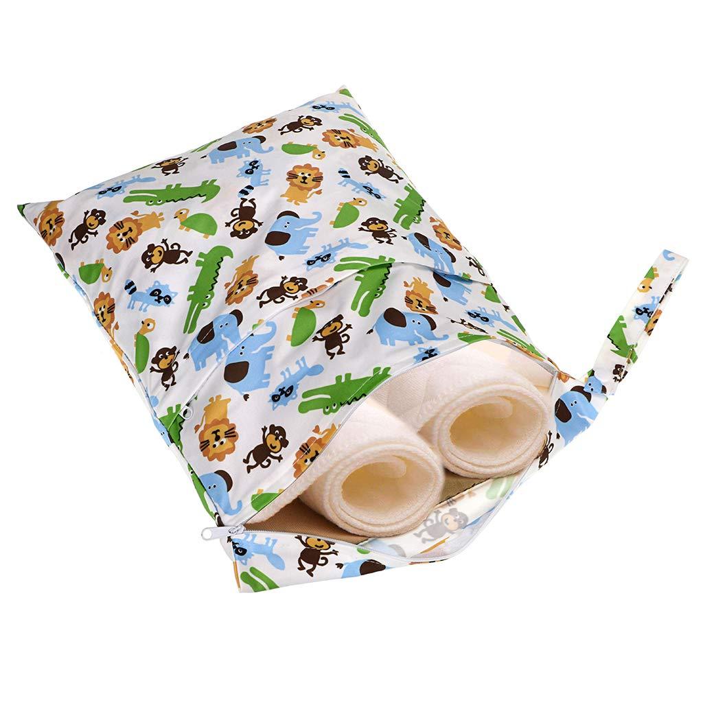 IGNPION 3 Packs Reusable Wet Dry Bag Travel Infant Cloth Nappy Bag Child Interest Diaper Zipper Bag