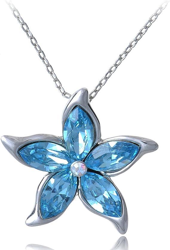 Prosaic Light Aquamarine and Rose Austrian Crystal 16 inch necklace