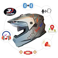 Green Stone Moto G6 Best Smart Dual Bluetooth Helmet with Brake/Indicator Light & Voice Assistance Large 600mm
