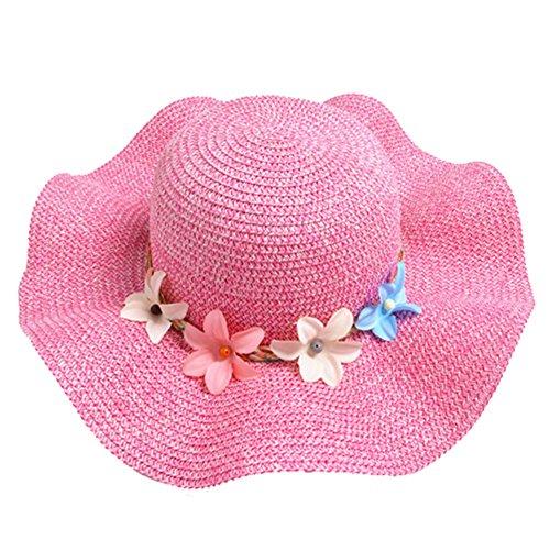 Sumkica Girls Wide Brim Flower Straw Hats - Kids Foldable UV Protection Sun Visor Hat - Children Summer Wave Edge Beach Cap (Rose Red) - Edge Sun Hat