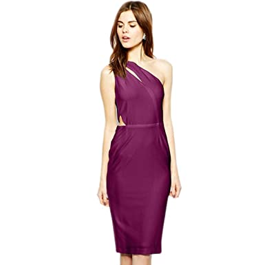 eaed96f28880 WeHeart Womens White Purple Cut Out One Shouler Midi Dress at Amazon ...